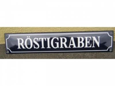 RÖSTIGRABEN Blauer Hintergrund Weisse Schrift Grösse 33 x ..