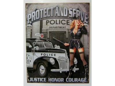 Protect and Serve Sexy Police Woman Blechschild 32X41cm