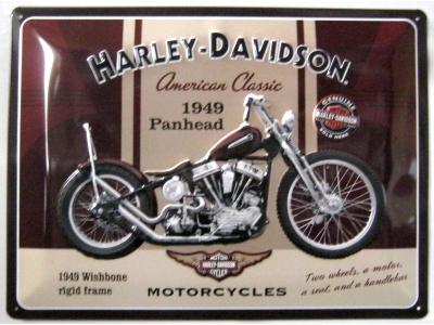 Harley-Davidson Panhead  3D Blechschild 30X40cm