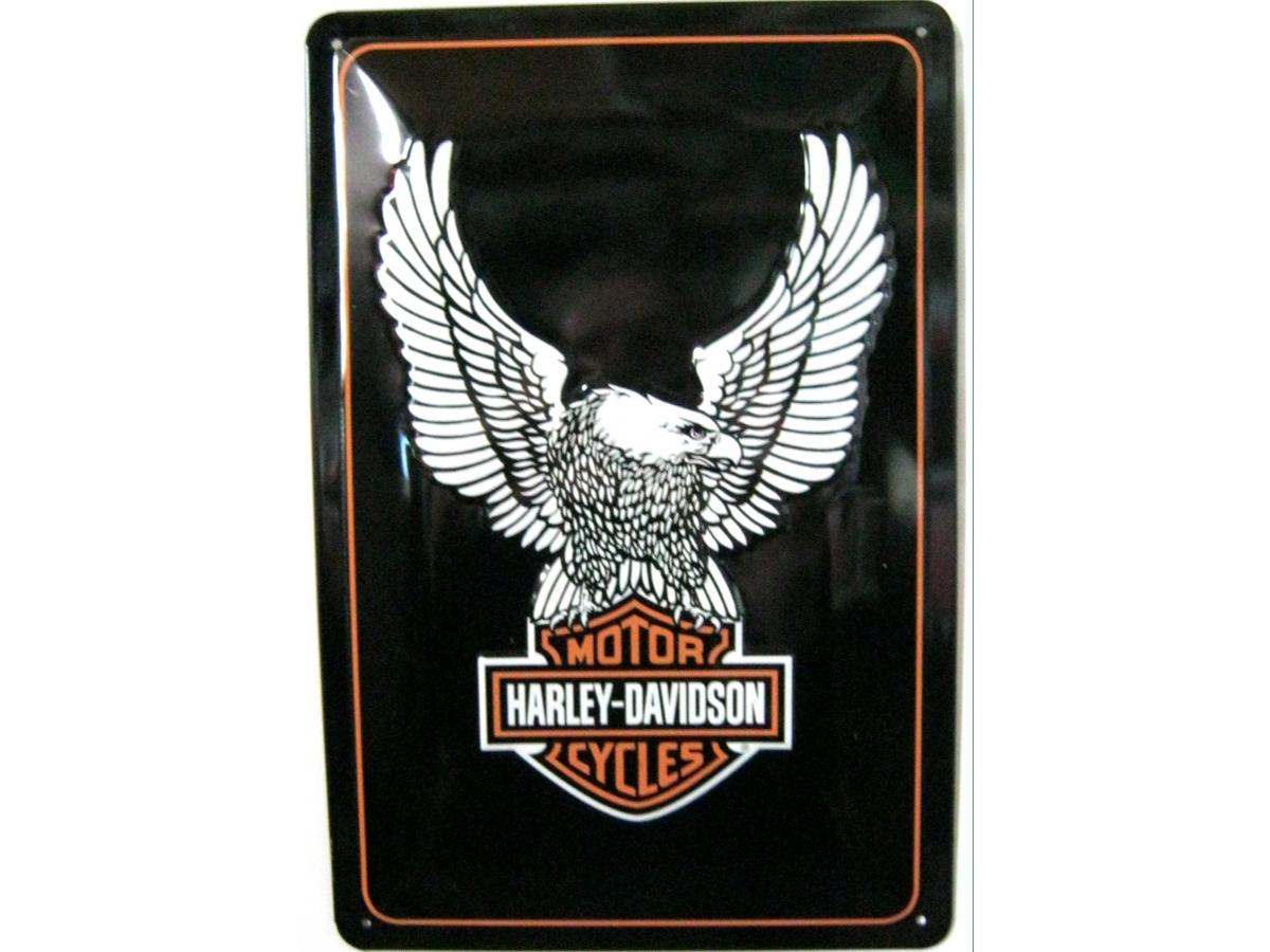 harley davidson eagle logo 3d blechschild 30x20cm. Black Bedroom Furniture Sets. Home Design Ideas