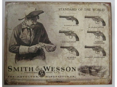 Smith and Wesson Revolvers   Blechschild 41X32cm