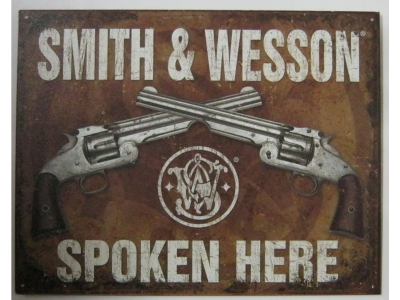 Smith & Wesson A & W spoken here   Blechschild 41X32cm