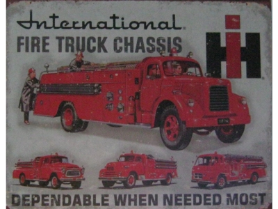 International Fire Truck Chassis  Blechschild 30X41cm