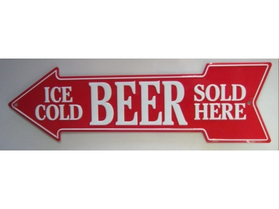 Ice cold Beer sold here  Blechschild  51x15