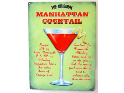 Manhattan-Cocktail Blechschild  30x41