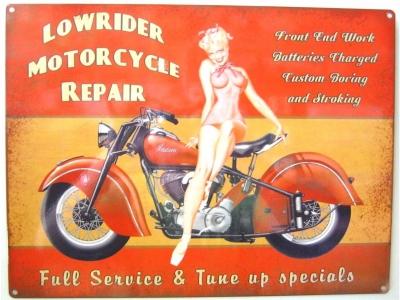Lowrider Motorcycle Repair  Blechschild  30x41