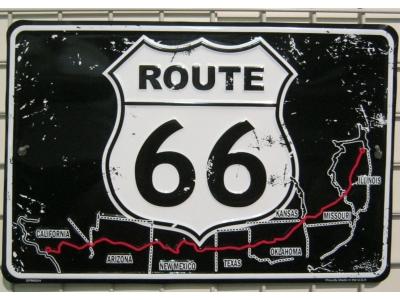 Route 66 Map Karte Blechschild  20X30cm