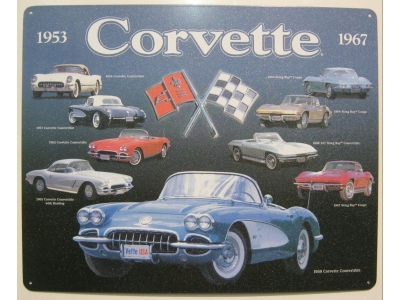 Corvette Collage 1953-1967 Blechschild  32X41cm