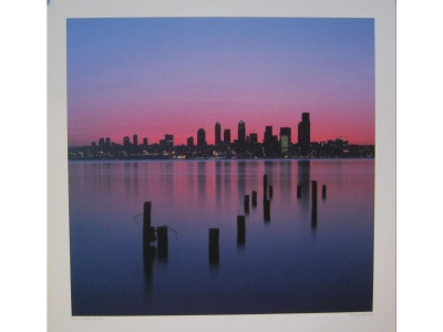 Seattle Sunrise  Kunstdruck Größe 40 x 40 cm