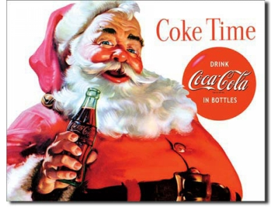 Coca-Cola Santa Coke Time  Blechschild 41 x 32cm