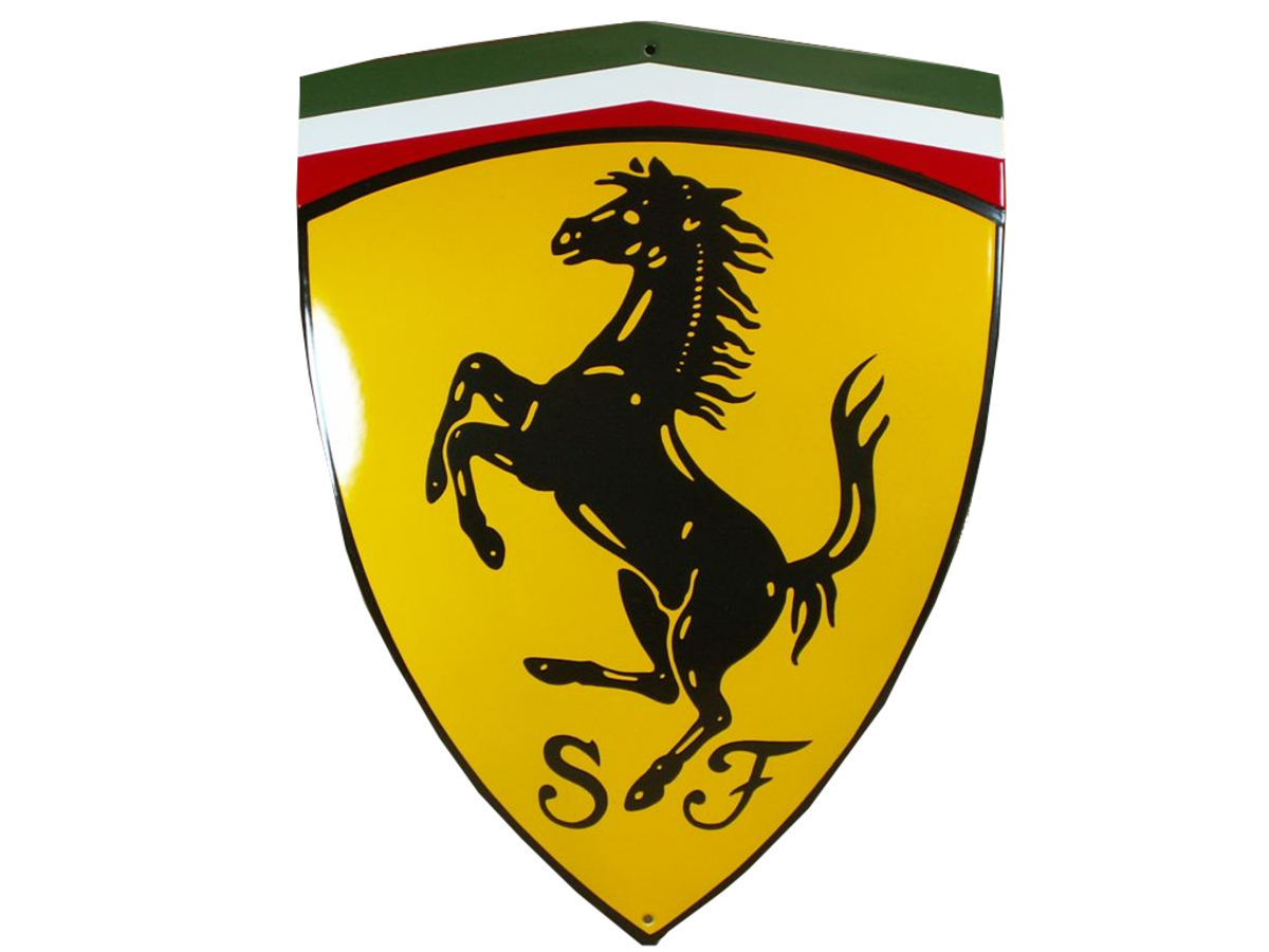 asp yellow signs ferrari embossed steel on red heavyweight parking p only sign