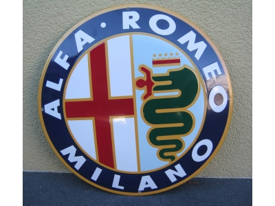 Emailschild Alfa Romeo-Rund  Grösse Durchmesser 50 cm  gek..