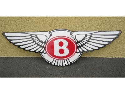 Emailleschild EMA-Bentley Flügel grösse 50X16cm ausgeschni..
