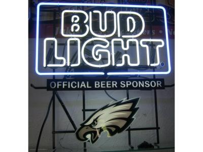 Neon Sign Bud Light mit Adler 68 x 63cm 2 Farbig