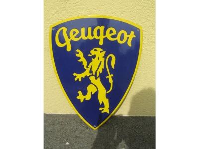 Emailschild PEUGEOT  Gelb/Blau 47X36 cm