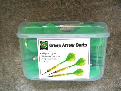 Dart-Pfeile grün SUPER-Sparpackung 100 Stück  BULLSEYE