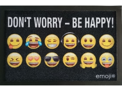 Mat 40 x 60 cm - emoji - Don't worry - Be happy!