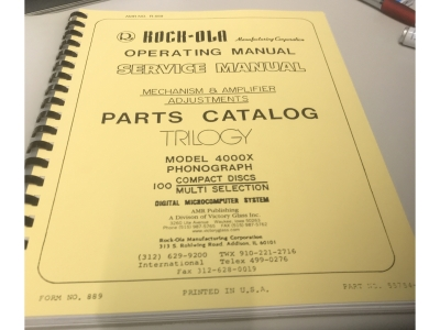 ROCK-OLA TRILOGY Model 4000X Original Jukebox Manual Wirin..