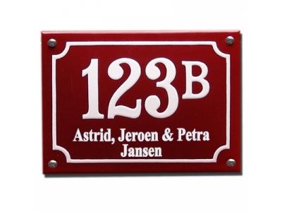 Hausnummern 10x14cm Mit Namen 3 Zeilig   Rechteckig gekrümmt
