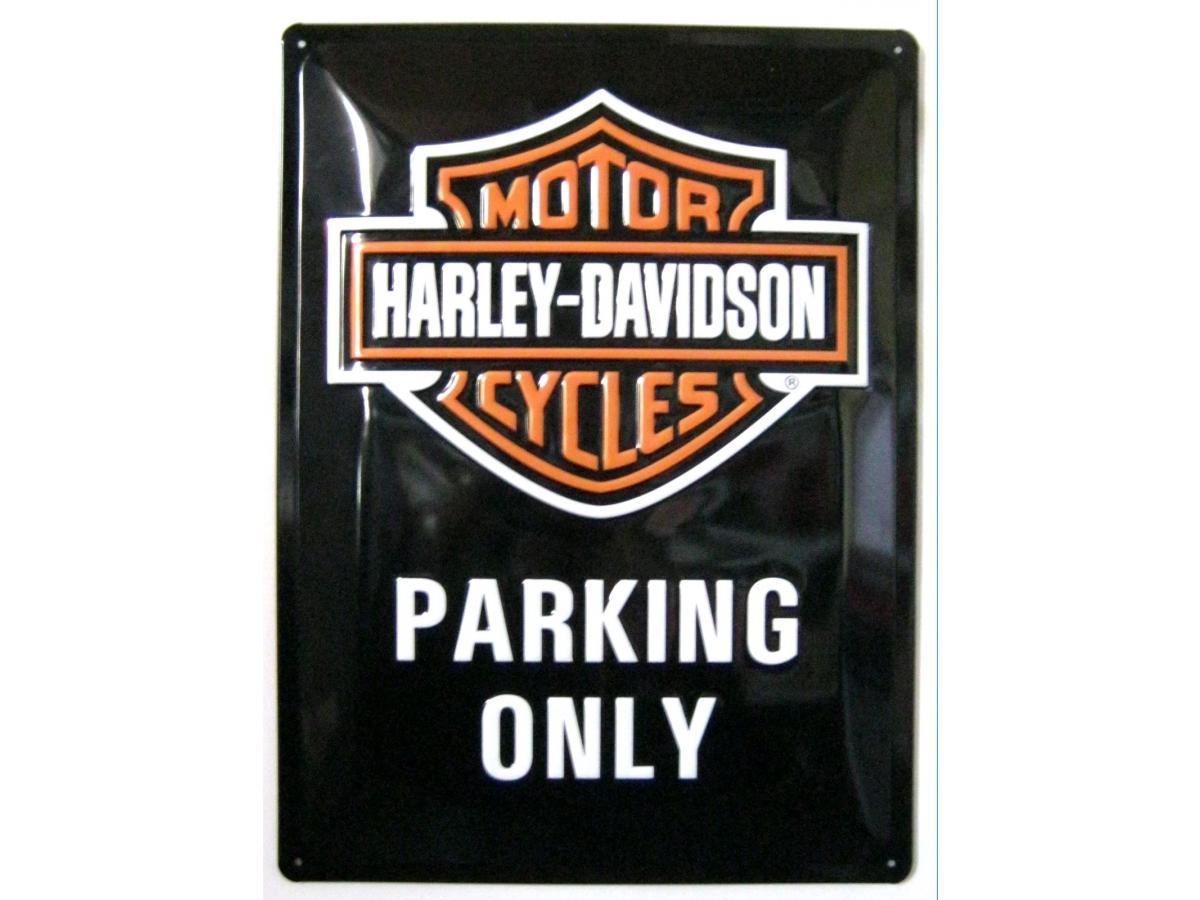 harley davidson parking only 3d blechschild 30x40cm. Black Bedroom Furniture Sets. Home Design Ideas