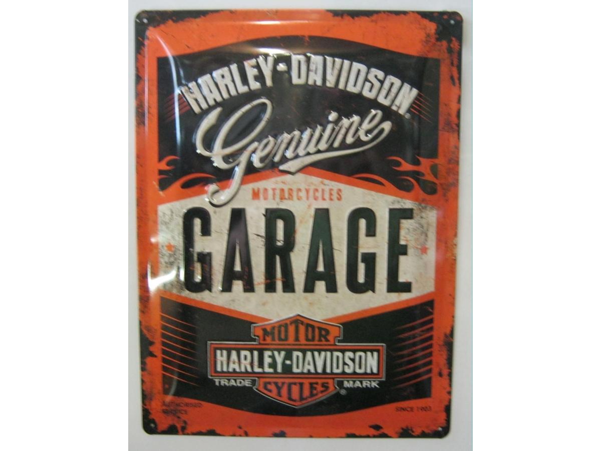 harley davidson garage blechschild 30x40 fahrzeuge. Black Bedroom Furniture Sets. Home Design Ideas