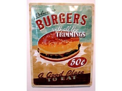 Burgers  3D Blechschild 30X40cm