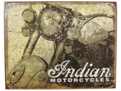 Indian Motorcycles Antiqued  Blechschild 41X32cm