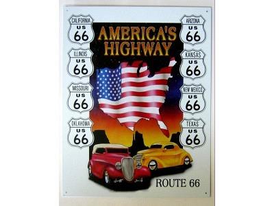 Route 66 America's Highway Blechschild 41X32cm