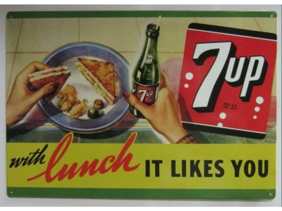 7UP Seven Up Soda with Lunch like you   Blechschild 30X43cm