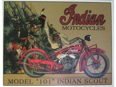 Motorrad Indian Scout  Blechschild 32X41cm