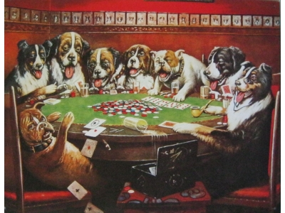 Eight dogd playin cards  Blechschild 32X41cm