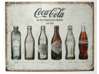 Coca-Cola Blechschild in the Distinctive Bottle est. 1886  41X32cm