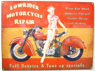 Lowrider Motorcycle Repair  Blechschild  30x41