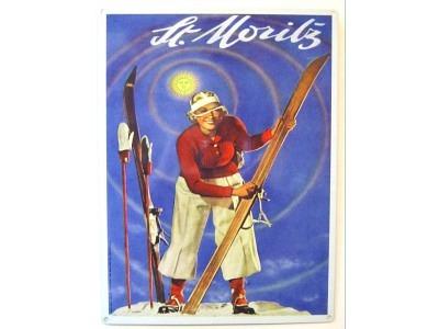 St. Moritz Lady    Blechschild 30X41cm