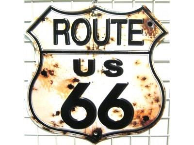 Route 66 US Bullet Holes Rostig Blechschild  22X38cm