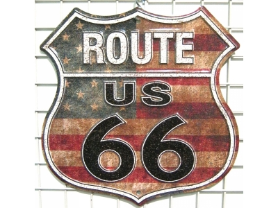 Route 66 Stars And Stripes Blechschild  22X38cm