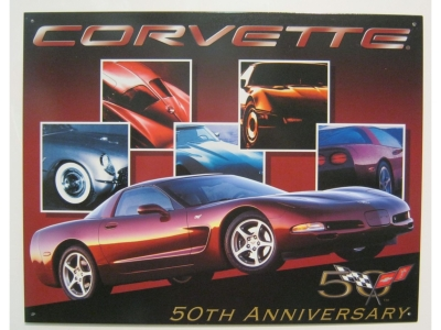 Chevrolet Corvette  50 Jahre Chevy Corvette   Blechschild  32X41cm