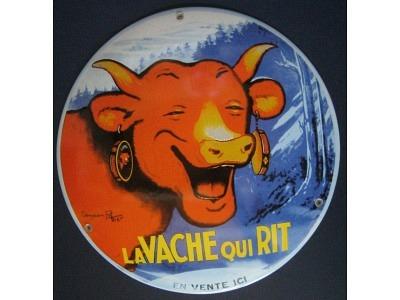 LA Vache qui Rit   Grösse Rund 30 cm gekrümmt Emailschild