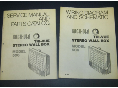 Rock-ola  506 Wall BOX Tri-Vue Original Jukebox Manual Wiring Diagram Parts Catalog