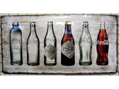 Blechschild Coca-Cola - Bottle Timeline Größe 25 x 50 cm