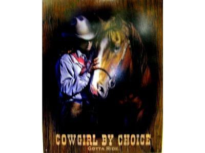 Blechschild Cowgirl by Choice Gotta Ride Größe 32 x 41 cm
