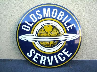 Emailschild Oldsmobile Rund  Grösse Durchmesser 50 cm  gekrümmt