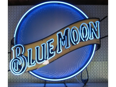 Neon Sign Blue Moon 70x70cm 2 farbig